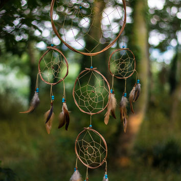 Boho Multi Dreamcatcher - Brown Bohemian Wall Hanging Dream Catcher Baby Tribal Crib Nursery Baby Feathers Baby Boy Girl