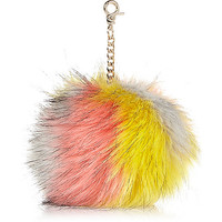 River Island Womens Multicolored faux fur pom pom keyring