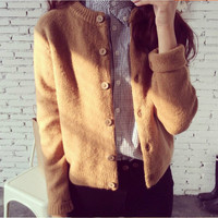 Long-Sleeve Button Knitted Cardigan