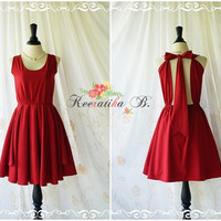 A Party Kate Cocktail Dress Cut Off Back Halter Dress Blood Red Burgundy Prom Party Dress Backless Wedding Bridesmaid Dress Custom XS-XL