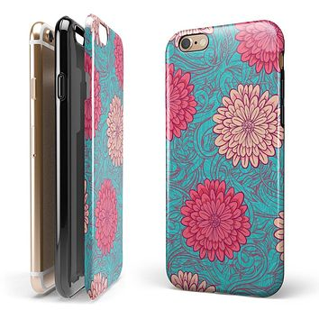 Pink & Blue Floral Illustration 2-Piece Hybrid INK-Fuzed Case for the iPhone 6/6s or 6/6s Plus