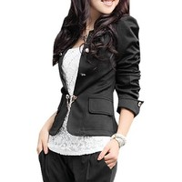 Allegra K Women Puff Sleeve Jacket Bow Pleated Back Slim OL Casual Peplum Blazer