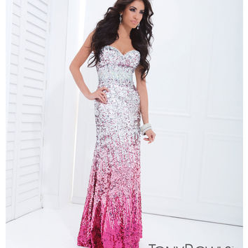 Tony Bowls 2014 Prom Dresses - Fuchsia & Silver Ombre Sequin Gown