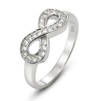 925 Sterling Silver Cubic Zirconia Infinity Symbol Ring:Amazon:Jewelry