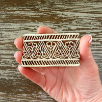 Hand Carved Wood Stamp, Flower Border Stamp, Indian Printing Block, Henna Tattoo Mendhi Textile Ceramics Clay Pottery Stamp, India