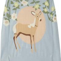 Mother of Pearl|Silk and cashmere-blend deer intarsia sweater|NET-A-PORTER.COM