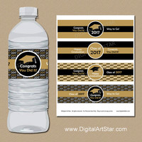 INSTANT DOWNLOAD Black and Gold Graduation Water Bottle Labels - Graduation Party Decorations - College Graduation Party Favor Template G1