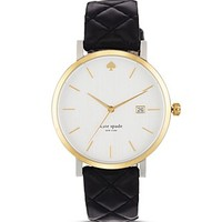 kate spade new yorkLarge Black Quilted Metro Watch, 38mm