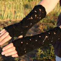 Black steampunk gloves, crochet armwarmers, long lace fingerless gloves, white NONwool fingerless mittens, autumn trends
