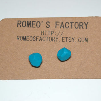 Geometric teal clay bead earrings