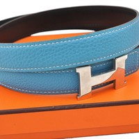 Auth HERMES Ladies Leather Reversible Black Light Blue Belt Size 72 Box 67956