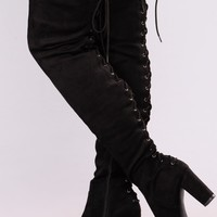 Midnight Strut Over The Knee Boot - Black