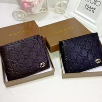 """""""Gucci"""" Men Purse Simple Fashion Classic Double G Letter Embossed Solid Color Short Section Fold Wallet"""