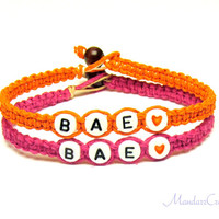 Orange and Pink BAE Bracelets, Set of Two, Couples or Friendship Hemp Jewelry