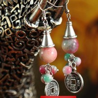 [$12.00] Apple Stones Earrings with Chinese Ancient Coin