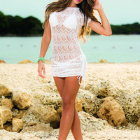 Short Sleeve White Beach Dress Swimwear Cover-Up