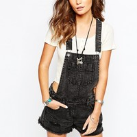 New Look Black Short Dungaree