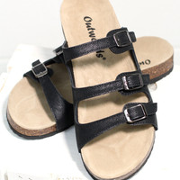 Triple Strap Bork Slide On Sandals Oiled Leather Look {Black}