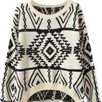 Sheinside Women's Long Sleeve Geometric Pullover Sweater