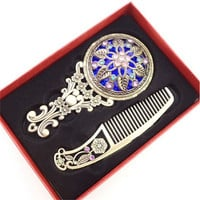 1 Set New Women Chic Retro Vintage pocket Mirror Compact Makeup Mirrors Comb Set Hand Make Up Bronze Hollowed-Out Make Up