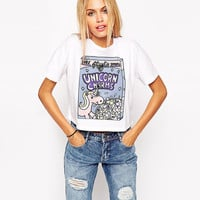 White Cartoon Unicorn  Print Short Sleeves Cropped Top