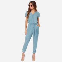 V Neck Lace Short Sleeve Elastic Waist Jumpsuit