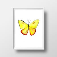 Yellow butterfly watercolor painting wall art print poster decor insect lbaby girl room decal print art poster large  small yellow butterfly