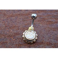 Creamy White Druzy Flower Gold Belly Button Navel Rings