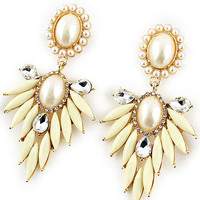 Pearl Feather Chandelier Earrings