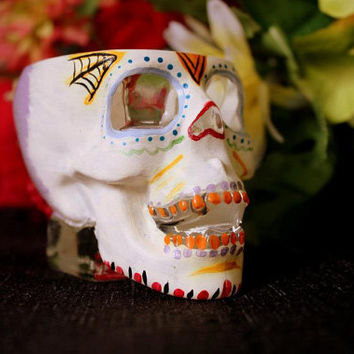 Hand Painted Skull Shot Glass Dia de los Muertos( Day of the Dead) Number 2