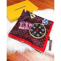 Onewel LV Louis Vuitton New Fashion Couple Embroidered Pattern Shawl Scarf