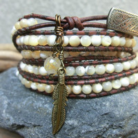 Desert Pearl Handmade Mother of Pearl Leather Wrap Bracelet Necklace