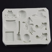 Silicone Cake Mold Halloween fondant molds Hat Shoes Broom Pumpkin Frog Fondant Mould Baking Chocolate resin clay moulds