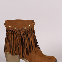Suede Studded Fringe Chunky Heeled Western Ankle Boots