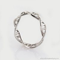 Sterling Silver DNA Ring- DNA Ring ,925 Sterling Silver DNA ring Chemistry Ring, Science Ring