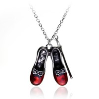 Wizard of Oz Alice in wonderland Sexy Red Shoes and Magic Wand Stars Charm necklace Girls and women jewelry