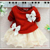 Cute Baby Girls Knitted With Bow Christmas Infants Newborn Tutu Dress