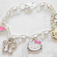 "bracelet for girls -  Love Bracelet ,  ""HELLO KITTY"" , Girls Bracelet, Kids Bracelet , Pink Bracelet, Children Bracelet, Gift for Girls"