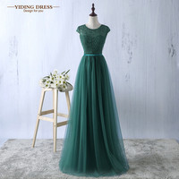 Green Evening Dress 2016 New Arrive Lace Tulle A-line Formal Longo Robe De Soiree Party Dress