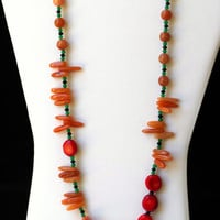 Bright Colorful Long Chunky Asymmetrical Necklace, Red Tan Caramel Green Multicolored Jewelry, Natural Semiprecious Coral Aventurine