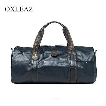 OXLEAZ Large Waterproof Travel Bag for Women Hand 2018 Vintage Mens Leather Travel Duffle Bags Pu Leather Weekend Bag Men