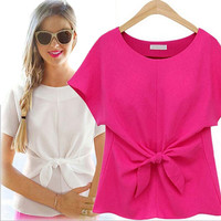Women Slim T-shirt Summer New Arrival Cute Solid Bow Chiffon Blouse Patchwork Slim Elegant O-neck Tops Casual PLUS 2XL QZ664