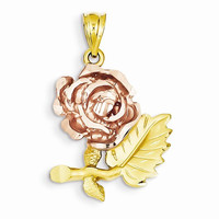 14k Two tone Solid Satin D.C Flower Pendant