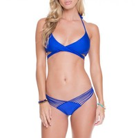 Luli Fama Electric Blue Crossover Halter Top