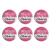 Cheryl Hello My Name Is Plastic Resin Button Set of 6