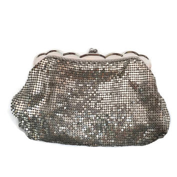 Whiting and Davis Purse - Silver Metal, Metal Mesh, Evening Bag, Clutch Purse, Cell phone holder,