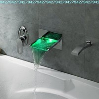 LightInTheBox Single Handle Wall Mount Waterfall LED Bath Tub Filler Faucet with Hand Shower, Chrome