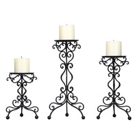 Iron Scroll Table Top Candle Holders (Set of 3)