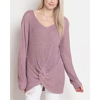 Final Sale - Dreamers - Lightweight Knot Front Pullover in Lavender