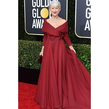 Helen Mirren Golden Globes 2020 Dress Red Off-the-shoulder Prom Celebrity Gown Mother Of the Bride